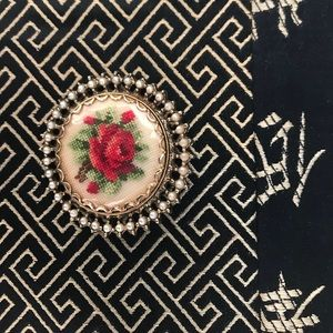 Vintage petty point rose brooch